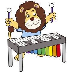 Cartoon Lion Playing a Vibraphone