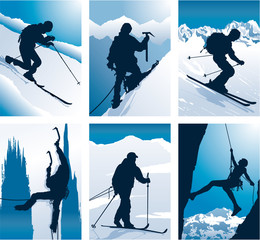 Mountain sports vector labels
