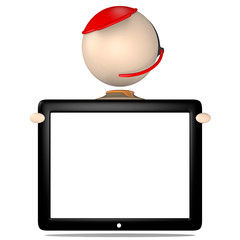 Sam_hält ein Tablet - 3D