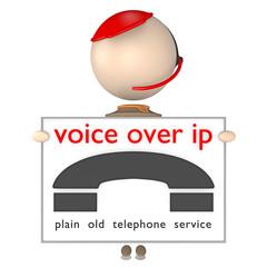 Sam mit Headset_hält eine Tafel_VoIP - 3D