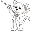 Cartoon Cat Music Conductor