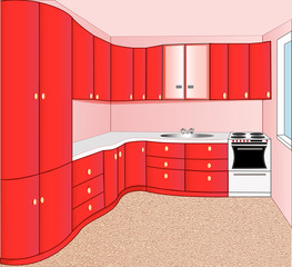 of the interior of the kitchen red