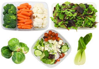 variety of healthy vegetables on a white background