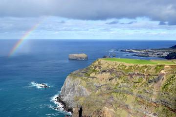 Azores, Sao Miguel, Mosteiros, the western coast, rainbow