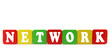 network - isolated text in wooden building blocks