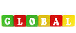 global - isolated text in wooden building blocks