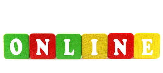 online - isolated text in wooden building blocks