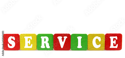 service - isolated text in wooden building blocks