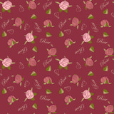 Pattern roses on burgundy background