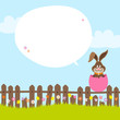 Bunny Fence Pink Eggshell Speech Bubble Sky