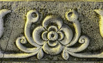 Detalle de un friso esculpido en piedra