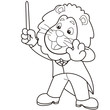 Cartoon Lion Music Conductor