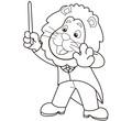 Cartoon Lion Music Conductor