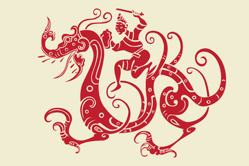 Chinese Oriental Design Element : dragon and soldier