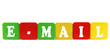 e-mail - isolated text in wooden building blocks