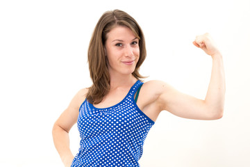 woman flexing her biceps