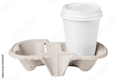 Blank coffee cup in tray