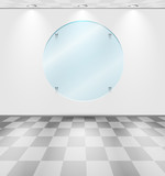 Room with round glass placeholder poster