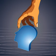 Head with Caring hand, abstract vector illustration