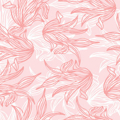 Seamless pattern of pink leaf