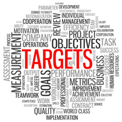 """TARGETS"" Tag Cloud (performance goals objectives teamwork kpis)"