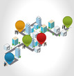 Template with business people in the street of a isometric city
