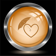 Protection love. Internet button. Vector illustration.