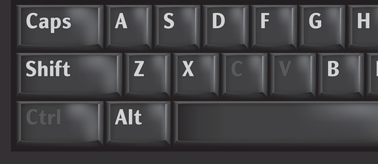 Computer keyboard keys used CTRL, C and V for copypaste