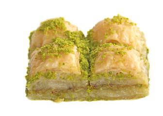Pistachio Baklavas isolated on white background