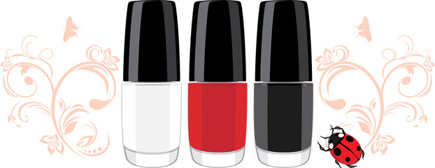 Three nail polish and ladybird with ornamental sprigs