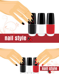 Female hands with manicure and bright nail polish