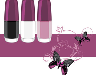 Three nail polish. Banner for design