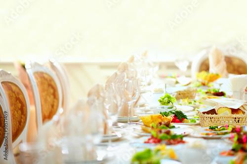 Leinwandbild Motiv set table in luxury restaurant