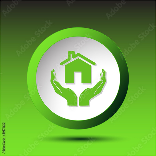 home in hands. Plastic button. Vector illustration.