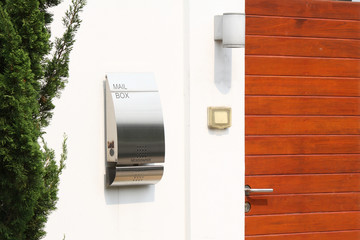 modern mail box in front of a house