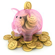 Glass pig and coins