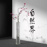 orchid vase with nature calligraphy 3d illustration