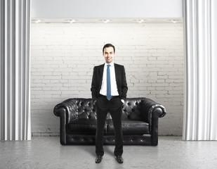 man standing in lof