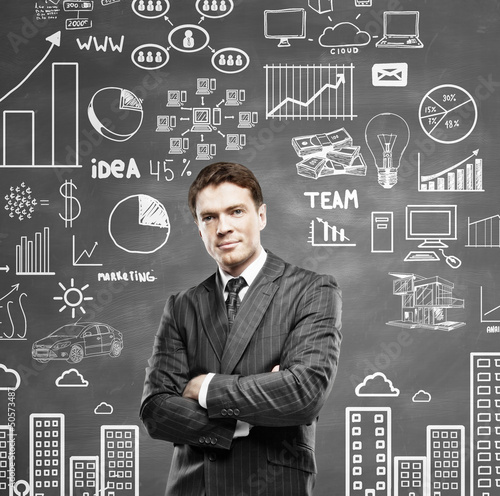 man standing and drawing business concept on wall
