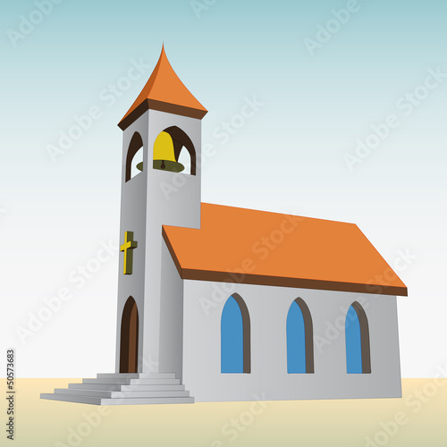 rural church for catholics with bell vector