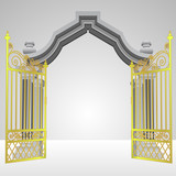 heavenly gate with open gold fence vector