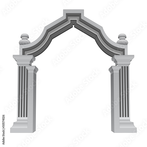 marble stone baroque entrance gate frame vector