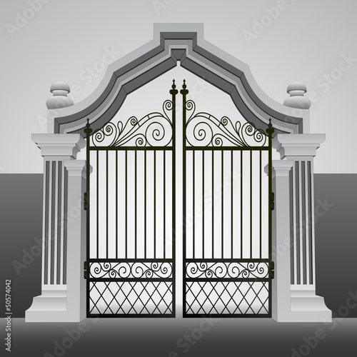 baroque entrance gate with iron fence vector
