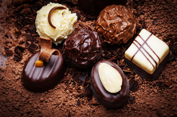 chocolate background with pralines