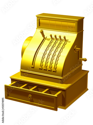 cash register in gold