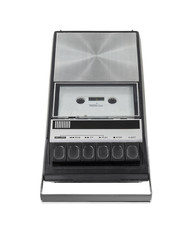 Vintage Cassette Tape Player Recorder Isolated with Clipping Pat