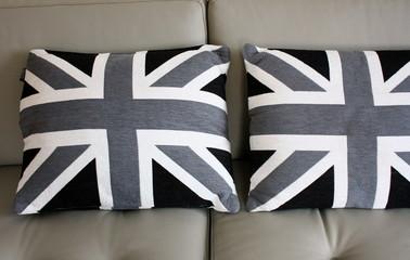 coussins noir et gris du drapeau anglais