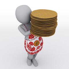 3D girl with pancake. Shrovetide. Russia. Maslenitsa.