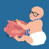 Cute baby putting money in piggy bank for retirement