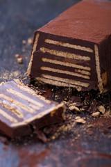 Kalter Hund Kuchen aus Keksen und Schokolade